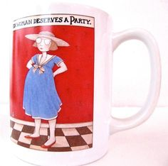 Mary Engelbreit Coffee Mug Cup This Pregnant Woman Deserves a Party 10 ounces $13.95