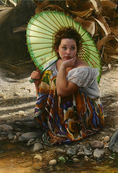 """""""Lost in a Moment"""" - Duffy Sheridan, oil on linen {contemporary figurative artist beautiful female seated woman umbrella painting #loveart} duffysheridan.com"""