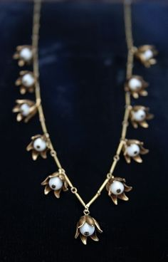 Vintage Lily Valley Bar Chain Necklace