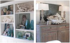 beautiful shelving with beach items