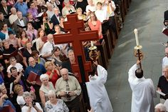 The congregation turns to greet the processional cross, which was followed by the presiding ministers, preacher, assisting ministers and director of liturgy. To learn more about the ELCA or to find an ELCA congregation go to ELCA.org.
