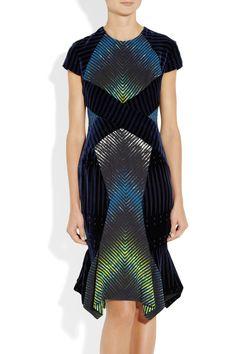 Peter Pilotto printastic #1|Alana velvet-paneled printed crepe dress