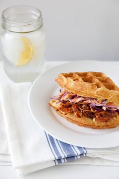 Barbecued Chicken and Waffle Sandwiches | Annie's Eats - love this idea!