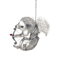 5x7 Giclee Print Happy Valentine's Day Hedgehog Pencil Illustration. $20.00, via Etsy.