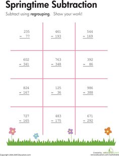 Worksheets: Springtime: Three-Digit Subtraction with Regrouping