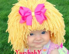 kids crocheted hats | Kids Hat, Beanie Wig, Children, Tod dler, Pageant Costume, Cabbage ...