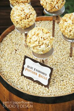 Rustic Popcorn Bar - perfect for weddings, showers, birthdays, reunions, Fall Festivals and more...