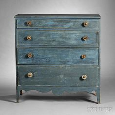 Blue-painted Pine Chest of Drawers, possibly Vermont, early 19th century, the case of four graduated, cockbeaded drawers on a scalloped apro...