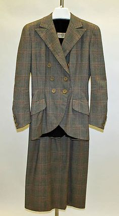 Plaid wool suit, by Lucien Lelong, French, 1946.