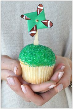 Super Bowl football cupcake toppers #diy #camillestyles #pinwheel