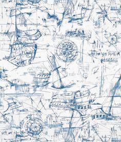 Premier Prints Schooner Nautical Fabric - $6.3487 | onlinefabricstore.net
