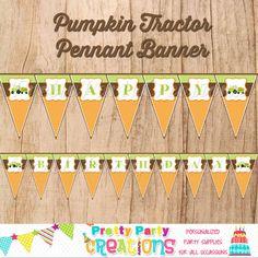 PUMPKIN TRACTOR birthday banner  you print by PrettyPartyCreations