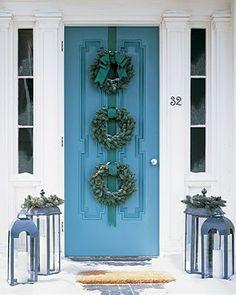 holiday doors holiday, christmas wreaths, lantern, the doors, front door wreaths, christmas front doors, blue doors, front door colors, christmas door