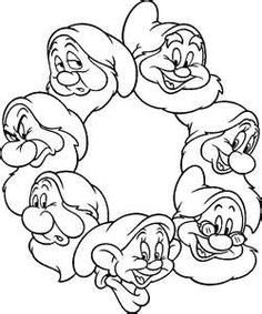 Seven Dwarfs coloring sheet.