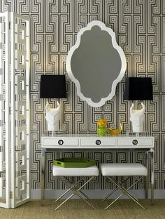 A punchy, graphic entry vignette (look familiar?) by Jonathan Adler via Knight Moves.