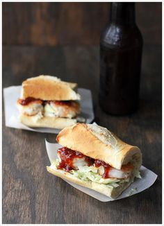 Szechaun Shrimp Po'Boys by dashofeast: Succulent shrimp with ginger, garlic, ketchup, soy and sriracha sauces, served on a baguette with wasabi coleslaw! #Shrimp_Po_Boys #dashofeast