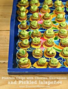 Plantain Chips with Chorizo, Guacamole and Pickled Jalapeños by @EverydayMaven on everydaymaven.com #paleo