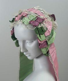 Cap: 1850's, American, silk plain weave ribbons, silk bobbin lace and net.