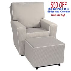 4th of July Sale Going on Now! Receive $50 Off and Free Shipping on a  Little Castle Glider and Ottoman purchase Coupon Code: July4
