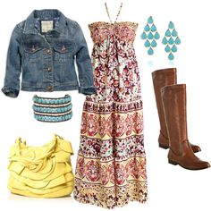 """dont know if I could pull of the """"maxi"""" but I'd for sure wear it with a cowgirl boot instead! -   """"Custard Maxi"""" by missredheadgirl on Polyvore"""