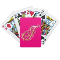 Pink Playing Cards with Initial J