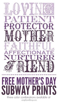 Free Printable for Mother's Day Subway Prints - 3 color combinations! so cute!