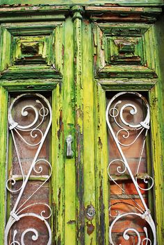 chartreuse & rust door