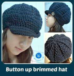 Button up brimmed hat - free crochet pattern - Be A Crafter xD