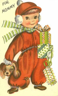Vintage Christmas Card, UNUSED, For Mommy, Boy With Gifts, Hawthorne Sommerfield.
