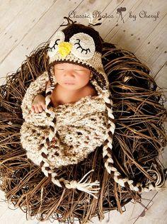 Crochet Baby Cocoon & Owl Hat Photo Prop Set