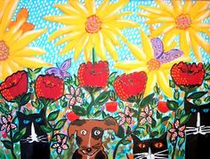 floral cat, dog paintings