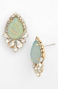 Princess worthy mint earrings for prom - BP. crystal teardrop stud earrings.