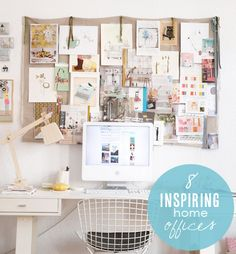 8 Inspiring Home Offices- these offices have great pin board/inspiration board/hanging storage ideas for the walls