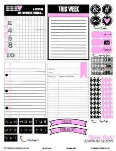 Free Printable-Think Pink Journaling Cards