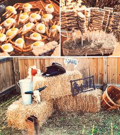 photo op area (bales of hay, wooden & tin buckets, hats) for a little boys party:]