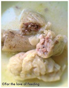 Stuffed Cabbage Leaves {in Egg-Lemon Sauce}