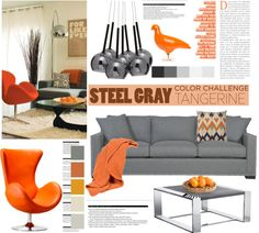 """Steel gray and tangerine"" by helenevlacho on Polyvore"