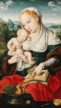 By Joos van Cleve (ca. 1484–1540/41, Netherlandish) and a collaborator for the landscape, ca. 1525,  Virgin and Child, oil on wood.