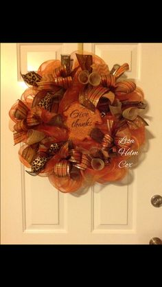 """Fall orange deco mesh wreath with """"Give Thanks"""" leaf sign"""