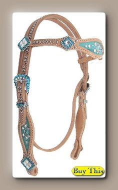 Da Vinci Headstall. Turquoise croc hide, Clear and Blue Zircon crystals and Crystal conchos. www.heritagebrand.com  $230.00 as shown