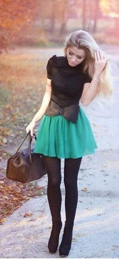 I could do this style. It's cute, with the black pantyhose is some what modest, and will make short girls with baby faces look hot