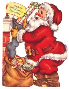 Santa Claus Sack of Toys Stockings Vintage Christmas Card