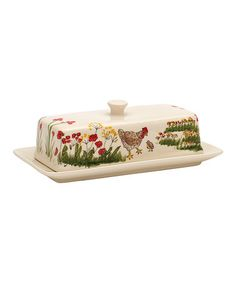 This Southern Rooster Covered Butter Dish is perfect! #zulilyfinds