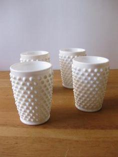 milk glass hobnail glasses