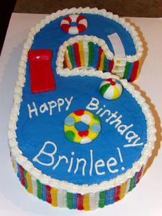 NUMBER 6 SWIMMING POOL CAKE