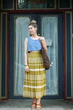 crop top + striped skirt