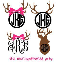 Deer Monogram Decal Sticker #Products