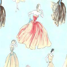 coutur dress, retro fabric, fabric stun, paper trail, couture dresses