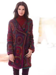 Granny Square Coat - Free Crochet Pattern - See http://www.ravelry.com/patterns/library/granny-square-coat For Additional Projects - (joann.lionbrand)