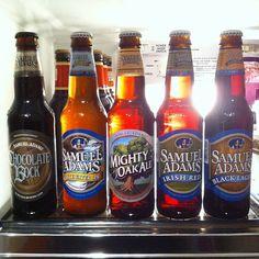 Sam Adams: Chocolate Bock, Whitewater IPA, Mighty Oak Ale, Irish Red, Black Lager